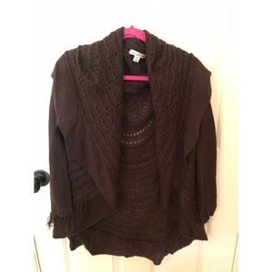 Brown Knit Sweater with tassles